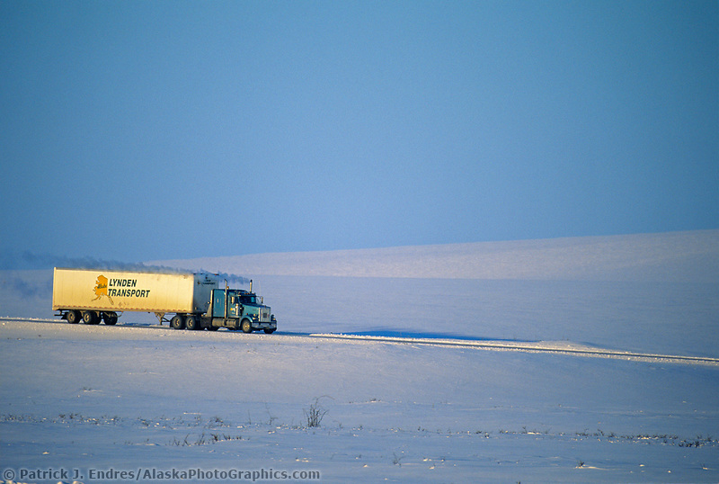 Lynden Transport Semi truck hauls supplies to Prudhoe Bay Oil fields, James Dalton Highway, Brooks range, Arctic, Alaska