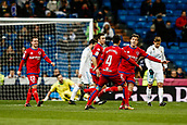 10th January 2018, Santiago Bernabeu, Madrid, Spain; Copa del Rey football, round of 16, 2nd leg, Real Madrid versus Numancia; Guillermo Fernandez (Numancia) celebrates his goal which made it 2-2