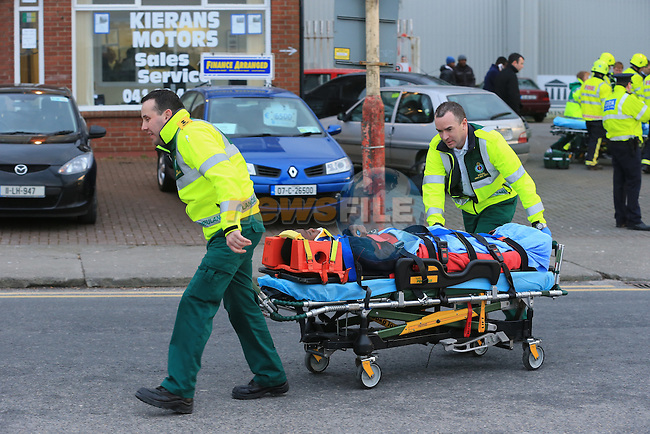 the scene of a traffic accident on the Dublin road in Drogheda, A pedestrian walking along was struck by a car and pined against the wall of a building. In total five people were taken to Our lady of Lourdes hospital in Drogheda..Picture: Fran Caffrey / www.newsfile.ie ..