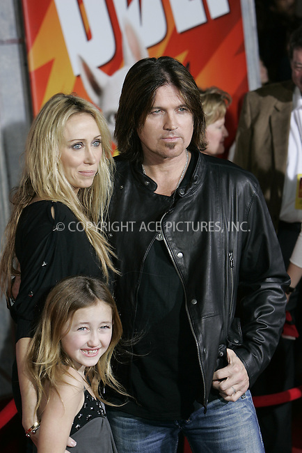 WWW.ACEPIXS.COM . . . . . ....November 17 2008, LA....Actor and singer Billy Ray Cyrus, his wife actress Tish Cyrus and their daughter arriving at the premiere of 'Bolt' on November 17, 2008 in Hollywood, California.....Please byline: JOE WEST- ACEPIXS.COM.. . . . . . ..Ace Pictures, Inc:  ..(646) 769 0430..e-mail: info@acepixs.com..web: http://www.acepixs.com