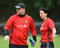20170722 - RIJEN , NETHERLANDS :  coach Ives Serneels with assistant coach Tamara Cassimon (R) pictured during the training on the pitch of VV Rijen , The Netherlands PHOTO SPORTPIX.BE | DIRK VUYLSTEKE