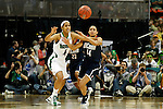 01 APRIL 2012:  Skylar Diggins (4) of the University of Notre Dame and Bria Hartley (14) of the University of Connecticut battle for the ball during the Division I Women's Final Four Semifinals at the Pepsi Center in Denver, CO.  Notre Dame defeated UCONN 83-75 to advance to the national championship game.  Jamie Schwaberow/NCAA Photos