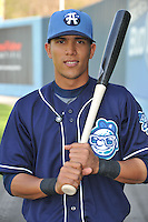 Rafael Ortega #5 of the Asheville Tourists poses during media day at McCormick Field on April 4, 2011 in Asheville, North Carolina.  Photo by Tony Farlow / Four Seam Images..