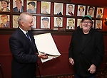 Max Klimavicius and Michael Moore during the Michael Moore And Michael Mayer portrait unveilings as they join the Wall of Fame at Sardi's on September 21, 2017 at Sardi's in New York City.
