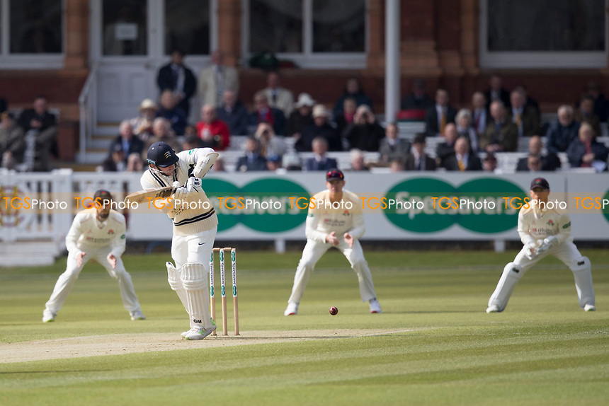 Sam Robson of Middlesex CCC pushes into the onside for a single during Middlesex CCC vs Lancashire CCC, Specsavers County Championship Division 2 Cricket at Lord's Cricket Ground on 11th April 2019