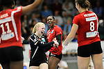 Rüsselsheim, Germany, April 13: Anna Pogany #12 and Dominique Lamb #2 of the Rote Raben Vilsbiburg celebrate after winning a point during play off Game 1 in the best of three series in the semifinal of the DVL (Deutsche Volleyball-Bundesliga Damen) season 2013/2014 between the VC Wiesbaden and the Rote Raben Vilsbiburg on April 13, 2014 at Grosssporthalle in Rüsselsheim, Germany. Final score 0:3 (Photo by Dirk Markgraf / www.265-images.com) *** Local caption ***