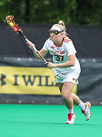 College Park, MD - May 19, 2018: Maryland Terrapins Meghan Siverson (37) runs with the ball during the quarterfinal game between Navy and Maryland at  Field Hockey and Lacrosse Complex in College Park, MD.  (Photo by Elliott Brown/Media Images International)