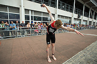 28 JUL 2013 - LONDON, GBR - Orkney Islands competitor Bobby Oag prepares for the start of the Elite Men's race during the 2013 Virgin Active London Triathlon at Excel, Royal Victoria Dock in London, Great Britain (PHOTO COPYRIGHT © 2013 NIGEL FARROW, ALL RIGHTS RESERVED)