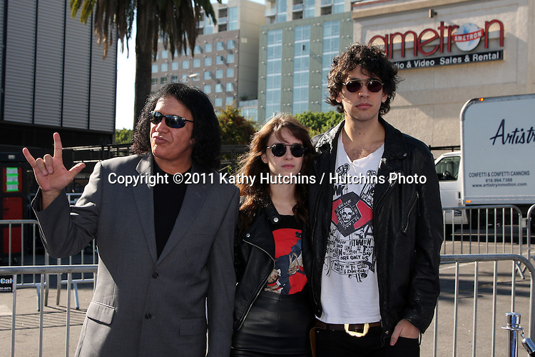 LOS ANGELES - AUG 14:  Gene Simmons; Alex Esso; Nick Simmons arriving at the 2011 VH1 Do Something Awards at Hollywood Palladium on August 14, 2011 in Los Angeles, CA