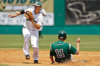 April 23, 2011:    Jacksonville University Dolphins infielder Jimmy Howick (25) takes a high throw at second base while Stetson Hatters outfielder Kyle Zech (11) slides in safely during Atlantic Sun Conference action between Stetson Hatters and Jacksonville University Dolphins at John Sessions Stadium in Jacksonville, Florida.  Jacksonville defeated Stetson 10-4...........