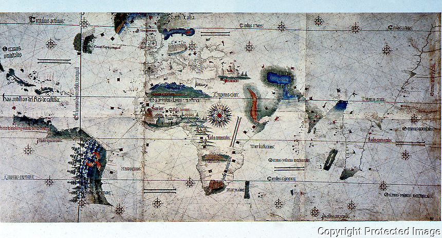 Maps:  map--1502. Cartographer unknown.  Modena.  Places Newfoundland on Eastern, Portuguese side of Papal Demarcation line. Schwartz & Shrenders, MAPPING OF AMERICA.