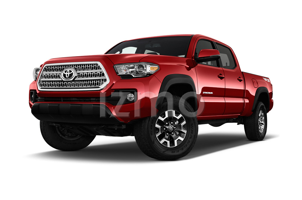 Stock pictures of low aggressive front three quarter view of 2016 Toyota Tacoma TRD Off Road Double 4 Door Pick Up