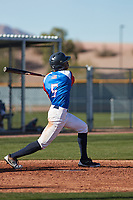 Demetrius Deramus (5) of William Penn Charter School in Philadelphia, Pennsylvania during the Baseball Factory All-America Pre-Season Tournament, powered by Under Armour, on January 14, 2018 at Sloan Park Complex in Mesa, Arizona.  (Freek Bouw/Four Seam Images)
