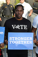 MIAMI, FL - OCTOBER 15: Pusha T speaks as Democratic vice presidential nominee Tim Kaine attends a Voter Registration Event at Miami Dade College, Carrie P. Meek Entrepreneurial Education Center on October 15, 2016 in Miami Florida. Credit: mpi04/MediaPunch