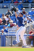 Toronto Blue Jays first baseman Jared Goedert (38) during a spring training game against the Pittsburgh Pirates on February 28, 2014 at Florida Auto Exchange Stadium in Dunedin, Florida.  Toronto defeated Pittsburgh 4-2.  (Mike Janes/Four Seam Images)