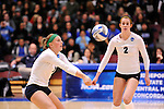 03 DEC 2011:  Megan Carlson (1) of Concordia University St. Paul returns a serve against Cal State San Bernardino during the Division II Women's Volleyball Championship held at Coussoulis Arena on the Cal State San Bernardino campus in San Bernardino, Ca. Concordia St. Paul defeated Cal State San Bernardino 3-0 to win the national title. Matt Brown/ NCAA Photos