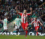 Liam Kelly looks up to the sky as he celebrates after scoring for Kilmarnock