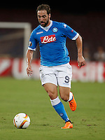 Napoli's Gonzalo Higuain  during the Europa  League Group D soccer match against Brugge  at the San Paolo  Stadium in Naples September 17, 2015