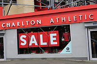 A Sale notice of the outside of the Club Shop at Charlton Athletic FC during Charlton Athletic vs Oxford United, Sky Bet EFL League 1 Football at The Valley on 3rd February 2018