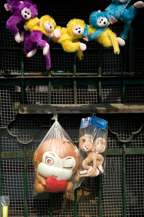 A souvenir shop sells toy monkeys on Monkey Hill at the Tianjin Zoo in Tianjin, China.