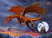 Interlitho, Lorenzo, REALISTIC ANIMALS, paintings, dragons, moon, castle(KL4278,#A#) realistische Tiere, realista, illustrations, pinturas ,puzzles