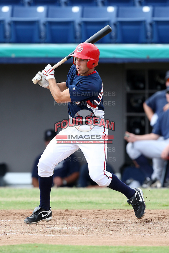 October 5, 2009:  Second Baseman Stephen Lombardozzi of the Washington Nationals organization during an Instructional League game at Space Coast Stadium in Viera, FL.  Lombardozzi was selected in the 19th round of the 2008 MLB Draft; son of former major leaguer Steve Lombardozzi.  Photo by:  Mike Janes/Four Seam Images