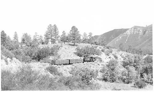RGS #42 with two gondolas between Franklin Junction and the coal mine.  #42 is owned by Scrap Materials Ltd. &amp; Lerner Co. as of 8/1952.<br /> RGS  Franklin Junction area, CO  Taken by Richardson, Robert W. - 9/10/1952