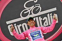 ITALIA - 27-05-2014: Nairo Quintana, ciclista colombiano del equipo Movistar celebra su victoria en la etapa 16 Ponte di Legno y Val Martello sobre 139 kilómetros, y se ha apuntado la victoria en la cima de Val Martello en la versión 97 del Giro de Italia / Nairo Quintana, Colombian cyclist Movistar Team celebrates winning the stage 16 Ponte di Legno and Val Martello about 139 kilometers, and has registered the win on top of Val Martello in version 97 of the Giro d'Italia. Photo: VizzorImage/ Marco Alpozzi / LaPresse<br /> VizzorImage…. PROVIDES THE ACCESS TO THIS PHOTOGRAPH ONLY AS A PRESS AND EDITORIAL SERVICE AND NOT IS THE OWNER OF COPYRIGHT; ANOTHER USE HAVE ADDITIONAL PERMITS AND IS REPONSABILITY OF THE END USER