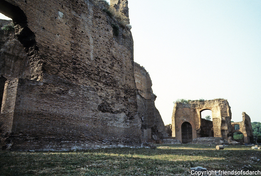 Italy: Rome--Baths of Caracalla, AD 212-230. Portion of western outer wall enclosing gardens. Photo '83.