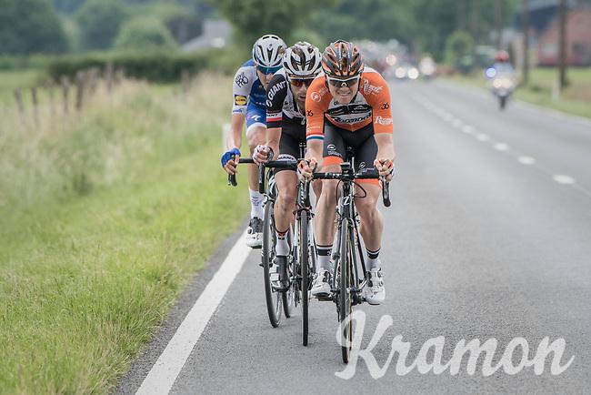 Pim Ligthart (NED/Roompot-Nederlandse Loterij), Laurens ten Dam (NED/Sunweb) &amp; Laurens De Plus (BEL/QuickStep Floors) join forces in the breakaway<br /> <br /> Ster ZLM Tour (2.1)<br /> Stage 4: Hotel Verviers &gt; La Gileppe (Jalhay)(190km)