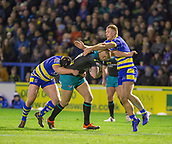 2nd February 2019, Halliwell Jones Stadium, Warrington, England; Betfred Super League rugby, Warrington Wolves versus Leeds Rhinos; Liam Sutcliffe is tackled by Jack Hughes