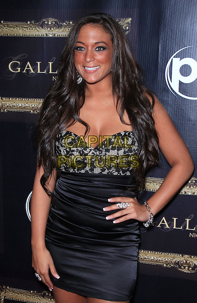 "Sammi ""Sweetheart"" Giancola.kicks off Labor Day Weekend at Gallery Nightclub inside Planet Hollywood Resort and Casino, Las Vegas, NV, USA, 2nd September 2011..half length lace strapless corset bustier dress hand on hip snake ring bracelet smiling .CAP/ADM/MJT.© MJT/AdMedia/Capital Pictures."