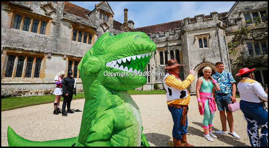 BNPS.co.uk (01202)558833Pic:   PaulCollins/BNPS<br /> <br /> One guest dressed as a t-rex.<br /> <br /> A pair of TV buffs have tied the knot in front of their friends and family - all of whom were dressed as their favourite on-screen characters.<br /> <br /> Stacey Savage, 29, and Simon Clarke, 40, married at Athelhampton House in Dorset where an episode of Doctor Who was filmed in the 1970s.<br /> <br /> To mark the special location the couple asked their guests to come dressed as their favourite fictional figures and they did not disappoint.<br /> <br /> Among the onlookers were the likes Bart and Marjoie Simpson, Mary Poppins and Bert, Mr Potato Head and Mrs Brown.<br /> <br /> The bride's parents even got into the spirit of things by arriving as the Julia Roberts and Richard Gere from Pretty Woman.
