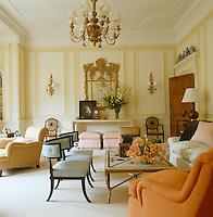 Formal designer drawing room furnished with tasteful antiques
