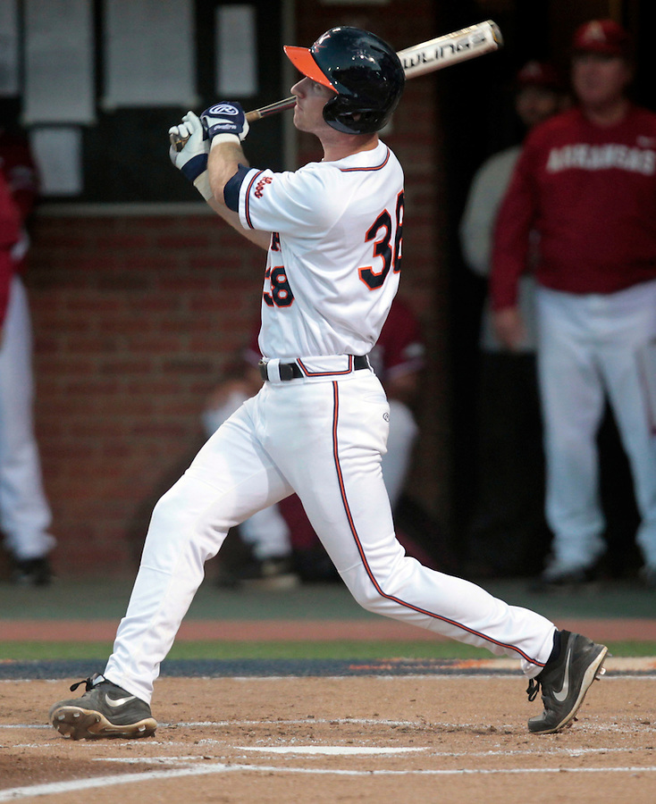 Virginia outfielder Mike Papi (38) hits a home run in the first inning of the game during the game against Arkansas Saturday night at Davenport Field in Charlottesville, VA. Photo/The Daily Progress/Andrew Shurtleff