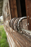 USA, Oregon, Enterprise, old horseshoes rest on a windowsill at the Snyder Ranch in Northeast Oregon