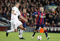 FC Barcelona's Andres Iniesta (r) and Paris Saint-Germain's Zlatan Ibrahimovic during Champions League 2014/2015 match.December 10,2014. (ALTERPHOTOS/Acero) /NortePhoto