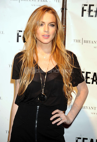Lindsay Lohan at FEARnet's 2nd anniversary party at The Cellar Bar at Bryant Park Hotel on October 30, 2008 in New York City. Credit: Dennis Van Tine/MediaPunch