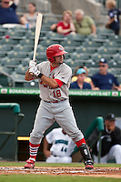 May 1 2010: Nick Derba (18) of the Palm Beach Cardinals during a game vs. the Jupiter Hammerheads at Roger Dean Stadium in Jupiter, Florida. Palm Beach, the Florida State League High-A affiliate of the St. Louis Cardnials, won the game against Jupiter, affiliate of the Florida MArlins, by the score of 5-4  Photo By Scott Jontes/Four Seam Images