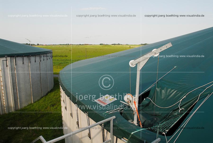 GERMANY Biogas plant at Pellworm Northsea island / DEUTSCHLAND , <br /> Envitec Biogasanlage mit Blockheizkraftwerk BHKW zur Stromerzeugung und Waermeerzeugung auf Nordseeinsel Pellworm , Vergaerung von Mais und Rinderguelle
