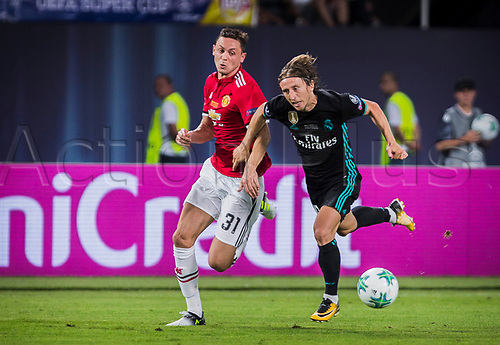 August 8th 2017, Philip II National Arena, Skopje, Macedonia; 2017 UEFA Super Cup; Real Madrid versus Manchester United; midfielder Luka Modric of Real Madrid in action against midfielder Nemanja Matic of Manchester United during the Super Cup match