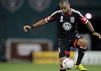 WASHINGTON, DC - OCTOBER 20, 2012:  Maicon Santos (29) of D.C United controls the ball against the Columbus Crew during an MLS match at RFK Stadium in Washington D.C. on October 20. D.C United won 3-2.