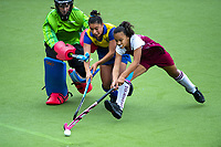 Action from the 2019 Collier Trophy Under-13 Girls' Hockey Tournament match between Marlborough and Bay Of Plenty at National Hockey Stadium in Wellington, New Zealand on Friday, 9 October 2019. Photo: Dave Lintott / lintottphoto.co.nz