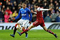 James Tavernier of Rangers vies for the ball with Abel Ruiz of Sporting Braga during Rangers vs SC Braga, UEFA Europa League Football at Ibrox Stadium on 20th February 2020