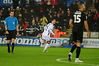 Yan Dhanda of Swansea City celebrates scoring the opening goal during the Sky Bet Championship match between Swansea City and Charlton Athletic at the Liberty Stadium in Swansea, Wales, UK.  Thursday 02 January 2020