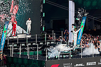27th October 2019, Autodromo HermanRodriguez, Mexico City, Mexico; F1 Grand Prix of Mexico, Race Day; 44 Lewis Hamilton GBR, Mercedes AMG Petronas Motorsport celebrates his win on the podium