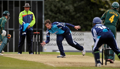 Scottish Saltires V Nottingham Outlaws - Clydesdale Bank 40 - at Grange CC (Edinburgh) - Saltires Capt Gordon Drummond dives to stop the ball off his own bowling mid wicket - Picture by Donald MacLeod  07.5.12  07702 319 738  clanmacleod@btinternet.com