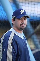 Adrian Gonzalez of the San Diego Padres during batting practice before a game against the Los Angeles Dodgers in a 2007 MLB season game at Dodger Stadium in Los Angeles, California. (Larry Goren/Four Seam Images)