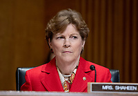 """United States Senator Jeanne Shaheen (Democrat of New Hampshire) listens as US Secretary of State Mike Pompeo appears before the  to """"Review  the FY 2019 State Department budget request"""" on Capitol Hill in Washington, DC on Thursday, May 24, 2018.  Prior to delivering his prepared remarks, Secretary Pompeo read a letter from US President Donald J. Trump to North Korean leader Kim Jong-un cancelling their planned summit in Singapore on June 12, 2018<br /> Credit: Ron Sachs / CNP /MediaPunch"""