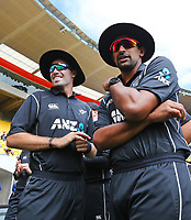 Blackcaps Tim Southee & Ish Sodhi during the third ODI cricket match between the Blackcaps & England at Westpac stadium, Wellington. 3rd March 2018. © Copyright Photo: Grant Down / www.photosport.nz